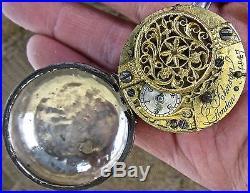 1847 antique JOHNSON london POCKETWATCH pocket watch FUSEE silver PARTS repair