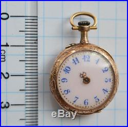 18K SOLID GOLD Antique bar movement SMALL Swiss Pocket Watch parts repair OF