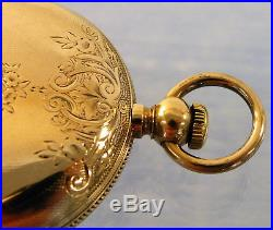 18S large ELGIN SOLID GOLD POCKET WATCH MARKED 18k TESTS 9-10k for Parts/Repair