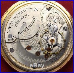 1904 South Bend Grade 330 18s 15j Pocket Watch Side-Wind GF- Parts/Repair