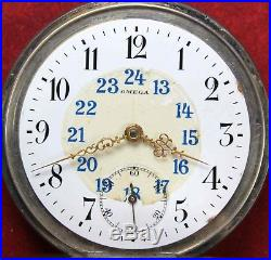 1912 Omega Pocket Watch Coin Silver Swiss Manual OF Case Parts/Repair