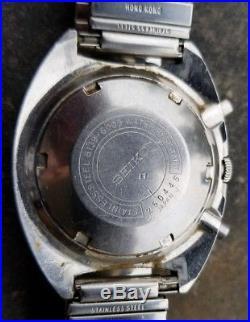 1972 Vietnam Era Seiko Pogue Auto Chrono 6139 6005 Parts Repair Free Ship USA