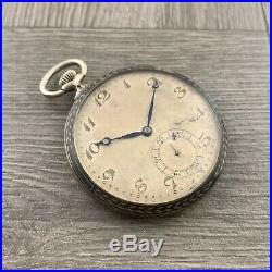 Antique 1880's Swiss Niello Silver. 800 Open Face Pocket Watch Parts Repair