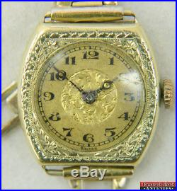 Art Deco LeCoultre Blancpain 14K Gold Filled Wrist Watch Parts or Repair 14902