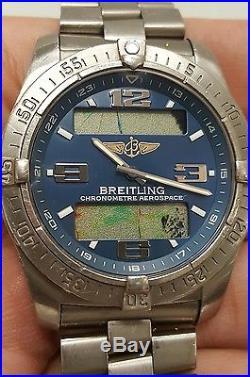 Breitling Mens Aerospace E79362 Digital/analog Blue Dial Parts+repairs Project