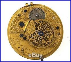 Barraud Cornhill London Verge Pocket Watch Movement Spares Or Repairs Vv37