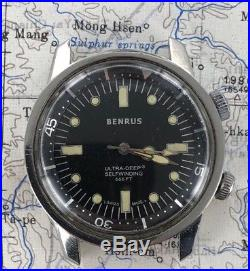 Benrus Ultra Deep 666ft Super Compressor watch FOR PARTS OR REPAIR ONLY