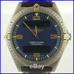 Breitling Aerospace 80360 Blue Dial Analog/digital Watch For Parts/repairs