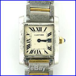 Cartier Tank Francaise 2384 2-tone Gold+s. S. Ladies Watch As Is For Parts/repair