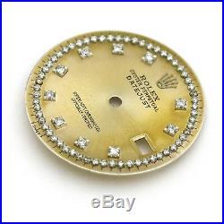 Champagne Custom string Diamond Dial Part Fits Rolex Datejust 36mm Watch Repair