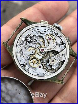 Chronograph Landeron 39 Movement Not Working For Parts Repair Vintage