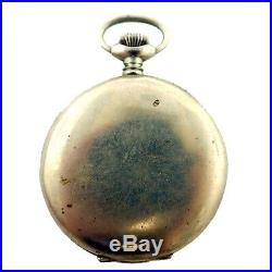 Exhibition 8 Jours 8 Days White Dial Steel Pocket Watch For Parts Or Repairs