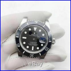 Fit 3135 movement 904L case kit watch repair parts for fix black submariner