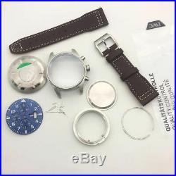 Fit 7750 movement chronograph case kit blue pilot style watch repair parts