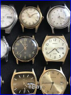 HUGE VINTAGE WATCH HUGE LOT OF 38 With CARTIER BOX PARTS REPAIR RESALE Enthusiasts