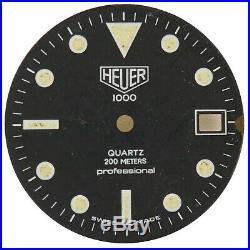 Heuer 1000 Quartz Professional 200m Black Dial For Parts Or Repairs