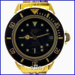 Heuer 980.017 Diver Prof 1000 Black Dial Ladies Gold Plated Watch-parts/repairs