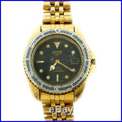 Heuer Diver 980.022 Prof Black Dial Gold Plated S. S. 200m Watch For Parts/repair