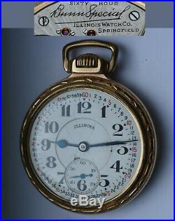 ILLINOIS 21 Jewels BUNN SPECIAL 60H Railroad Grade POCKET WATCH 16s PARTS REPAIR
