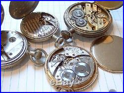 Lot of 4 Antique Vintage Pocket Watches Repair Parts Seth Thomas Waltham J. M. +