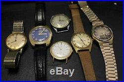 Lot of 6 Men's Watch Valgine Primus Yema Seiko Regina, for parts or repair