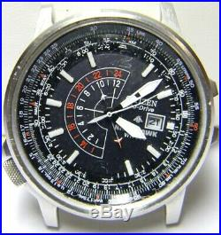 Mens Citizen Nighthawk Eco Drive Pilot Calendar Date watch B877 parts repair