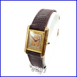 Must De Cartier Sterling Silver Women's Watch Non Running -Parts Repair- QXF30