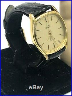 Omega De Ville Vintage Men's Swiss Quartz Watch 33mm Gold Tone FOR REPAIR PARTS