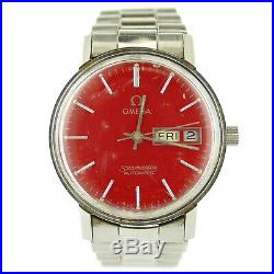 Omega Seamaster Vintage Auto Red Dial Stainless Steel Mens Watch Parts/repairs