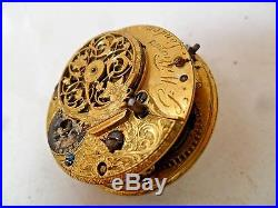 Ornate Antique G Williams London Fusee Pocket Watch Movement 4 Parts or REPAIR