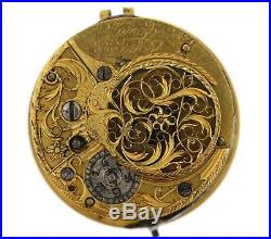 S Lange London Early Fusee Verge Pocket Watch Movement Spares Or Repairs Vv80