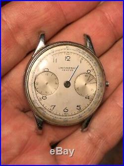 Universal Geneve Berthoud Chronograph Cal 385 Not Working For Parts Repair