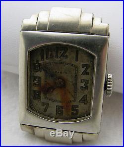 Vintage Mens Elgin Art Deco Gold Filled Wristwatch Watch Parts Repair