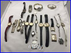 VINTAGE WATCH LOT of 19 PLUS FOR PARTS OR REPAIR TIMEX, BULOVA, SEIKO & OTHERS