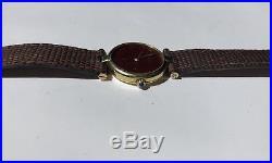 VTG Must de Cartier Argent 925 Quartz Watch, Gold Plated Round- FOR PARTS/REPAIR