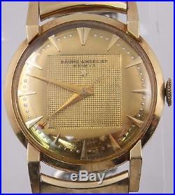 Vintage Baume & Mercier 14K Solid Gold Case Manual Wind Watch For Parts/Repair