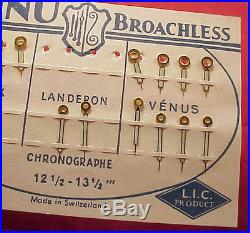 Vintage CHRONOGRAPH VALJOUX VENUS LANDERON WRIST 6 PR Watch Hands 4 Parts Repair