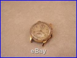Vintage Chronographe Suisse 17J Venus 170 18K Gold Watch for Parts/Repair