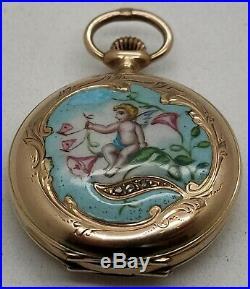 Vintage La Veine 14k Solid Gold Enameled Pocket Watch Angel (Parts Or Repair)