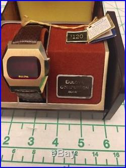 Vintage Men's Bulova Computron LED Watch 1970s NEW Old Stock Box PARTS/REPAIR