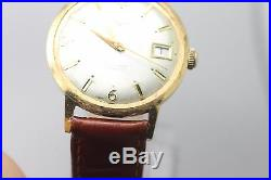 Vintage Men's Vulcain Hand Wind Gold Tone Wrist Watch For Parts/ Repair