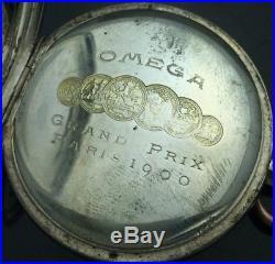 Vintage Omega Pocket Watch-grand Prix Paris 1900 0.800 Silver, For Parts Repair