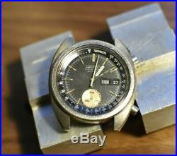 Vintage Seiko 6139-6012 Silver/Black Wristwatch for Parts/Repair, May 1971