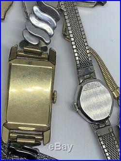 Vtg Antique Watch Lot For Parts Repair Non-running Pocket Wrist GF