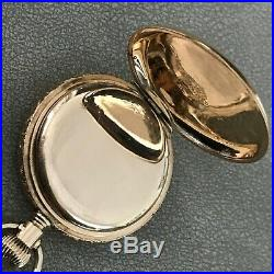 Waltham 15j Hunter Case Tri-Gold Pocket Watch 0s with Chain PARTS / REPAIR