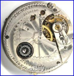 Waltham Riverside 1884s Pocket Watch Movement 14s 13j Parts/Repairs #P459