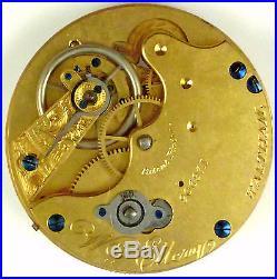 Waltham Wm. Ellery Complete Running Pocket Watch Movement Parts / Repair