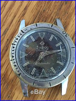 Zodiac seawolf Men's Wrist Watch Tropical Brown faded PARTS Repair Divers SO36
